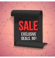 Big Sale Paper Ribbon Banner on Wireframe vector image