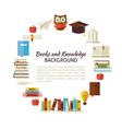 Flat Style Circle Template of Books Education and vector image