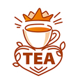 logo cup of tea and a crown vector image