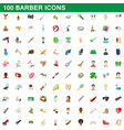 100 barber icons set cartoon style vector image