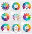 set of 9 circle infographic templates with 11 vector image