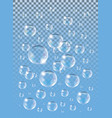 realistic isolated soap bubbles on the blue vector image