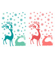 Cute Christmas deer couple vector image