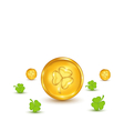 clovers and coins with shadows on white background vector image vector image