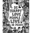 Love people positive emotion poster gray scale vector image