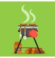 Barbecue Grill with tools and firewood vector image