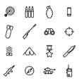 thin line icons - military vector image