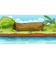 A big trunk beside the pond vector image