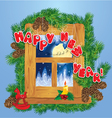 Christmas and New Year card with flying reindeers vector image