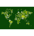 Globe World map with green icons vector image