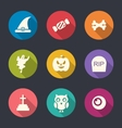 Halloween Flat Icons Set Over Pink vector image