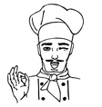 Hand-drawn head cook Isolated vector image