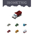 isometric automobile set of autobus car freight vector image