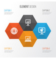 job icons set collection of earth presentation vector image
