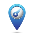 Key icon on blue map pointer vector image