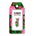 peony pattern tag for flower shop vector image