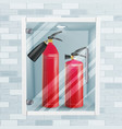 red fire extinguisher in wall niche metal vector image