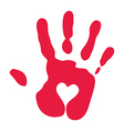Red Handprint With Heart Symbol vector image
