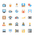 multimedia flat colored icons 3 vector image