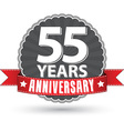 Celebrating 55 years anniversary retro label with vector image vector image