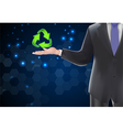 Businessman with icons green arrows vector image vector image