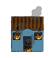 drawing blue house fire bursts windows roof vector image