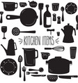 kitchen items silhouette vector image
