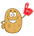 Potato Cartoon with a Foam Finger vector image