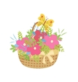 basket of flowers with a butterfly vector image
