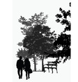 couple walking in the park vector image vector image