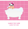 Cow girl bathing vector image