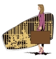 Beautiful girl walks with a suitcase vector image