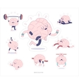 Brain stickers fitness set vector image