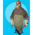 cartoon burly male worker in a helmet vector image