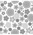 christmas snowflakes black and white pattern vector image