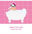 Cow girl bathing vector image