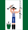 fishermans catch fishing vector image