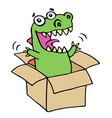 funny dinosaur jumped out of the box vector image