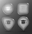 Graduation cap Glass buttons vector image