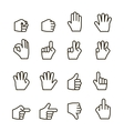 Hand gestures iconset contour flat vector image