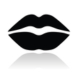 Lips black glossy icon vector image