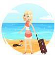 sea beach background cute girl suitcase cartoon vector image