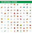 100 brumal icons set cartoon style vector image