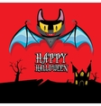 happy halloween card with bat vector image