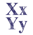 Uppercase and lowercase letters X and Y vector image