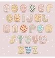 White chocolate donuts font Artistic alphabet vector image