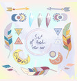 set of colored boho style elements vector image