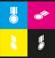 medal sign   white icon with vector image