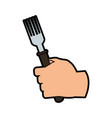hand holding fork cutlery icon image vector image