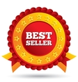 Best seller red label with stars and ribbons vector image